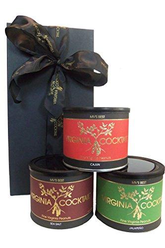 Gourmet Fine Virginia Cocktail Peanuts Gift Box - 3 Pack of 10 Ounce Tins (Cajun, Jalapeno, and Sea Salt)