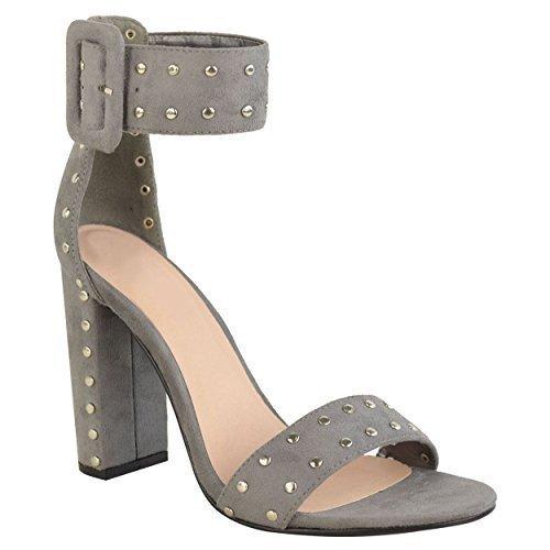 Miss IMAGE UK Mujer Tacón Alto en bloque ABIERTO Correa Tobillo Peep Toe Sandalias Con Tachuelas Zapatos Fiesta Talla Gris Cuero De Ante