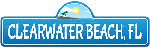Clearwater, FL Florida Beach Street Sign | Indoor/Outdoor | Surfer, Ocean Lover, Décor for Beach House, Garages, Living Rooms, Bedroom | Signmission Personalized - Fl Street Clearwater