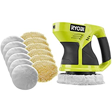 Ryobi P430G 18-Volt ONE+ 6 in. Cordless Green Buffer with (6) Terry Cloth Bonnets and (6) Synthetic Wool Bonnets (Tool Only - Battery and Charger NOT Included)