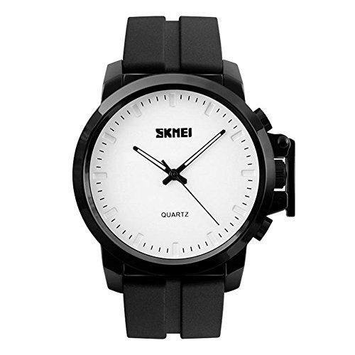 CakCity Men's Quartz Stainless Steel and Polyurethane Watch, Color:Black (Model: 1208)