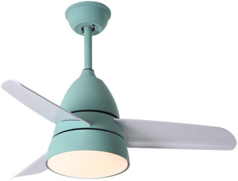 MZT Nordic Macaron Fan Light 80 cm salón Dormitorio Comedor araña Personalidad Creativa Moderna led Ventilador de Techo luz,Green