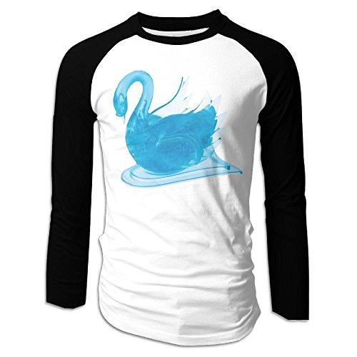 SuperBlu Blue Swan Men Long Sleeve Raglan Tshirts Black XXL