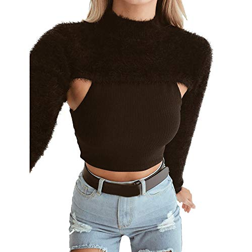 Girls Sweatshirt Laimeng_World Women's Solid Long Sleeve Hairy Tops Shirt Blouse Sexy Long Sleeve Tops Black -