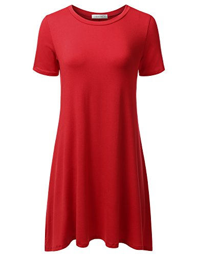 Jj Perfection Womens Casual Short Sleeve Loose Fit Swing T Shirt Tunic Dress Red 2Xl