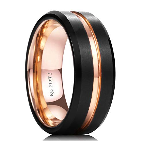 WASOLIE Tungsten Carbide Wedding Ring Engagement Band for Men Women Rose Gold Blue Black Matte Brushed Comfort Fit 8mm