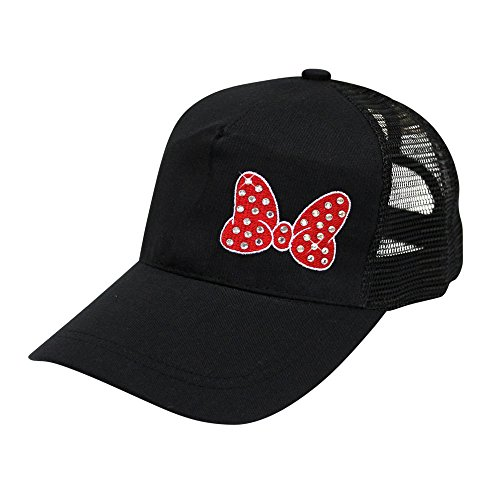 (Bella Designs Activewear Polka Dot Bow Pony Tail Baseball Hat - Embroidered with Rhinestone (Black Hat - RED Bow))