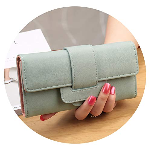 Women Long yle Large Capacity Wallets Coin Pocket Multi-Function Hasp Purse Three Fold Clutch,Light Green