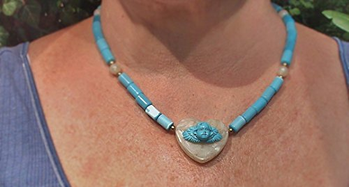 Neo Art Nouveau Cherub Hand Carved From Turquoise Mix on Quartz-like Acrylic with Blue Cat's Eye Tube Beads Necklace. ONE OF A KIND!