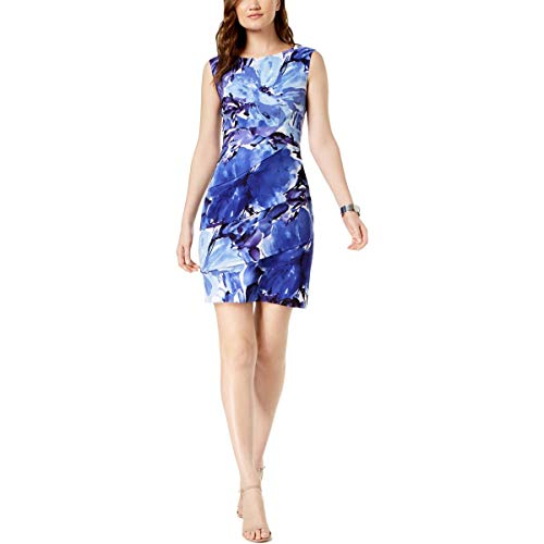 Connected Apparel Womens Petites Printed Daytime Sheath Dress Blue 6P