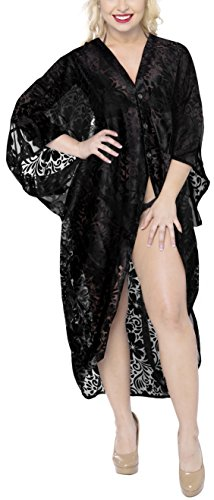 Burnout Fabric - LA LEELA Chiffon Burnout Fabric Beachwear Kimono Girl OSFM 14-28 [L-4X] Black_793