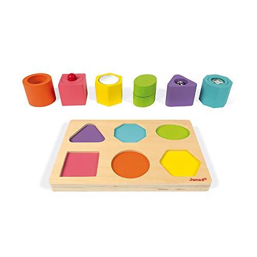 (Janod J05332 I Wood Shapes & Sounds 6-Block Puzzle, Multicolored)