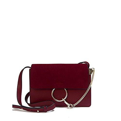 Viviesta Women's Real Leather Circular Lock Simple Across Body Crossbody Shoulder Bag Handbag