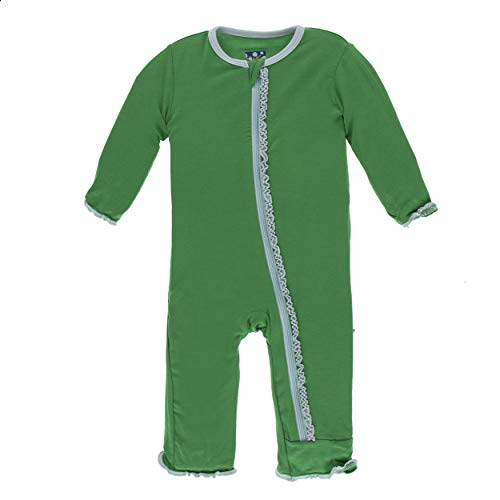Solid Girl Coverall - Kickee Pants Little Girls Solid Muffin Ruffle Coverall with Zipper - Fern with Spring Sky, 12-18 Months