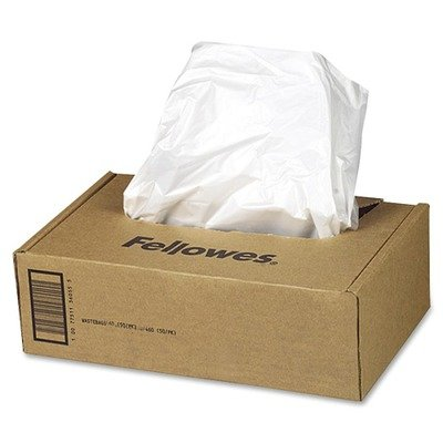 Fellowes Powershred Waste Bags for 425 and 485 Series Shredders - TAA Compliant - 38 gal - 50/Box - Plastic - Clear