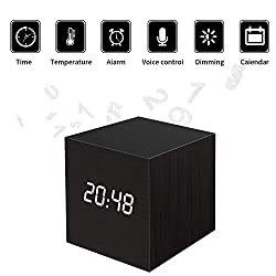 Wooden LED Digital Alarm Clock, Displays Time Date and Temperature, Cube USB Charger/3AAA Battery Powered Sound Control Desk Alarm Clock for Kids, Home, Office, Bedroom, Heavy Sleepers (black)