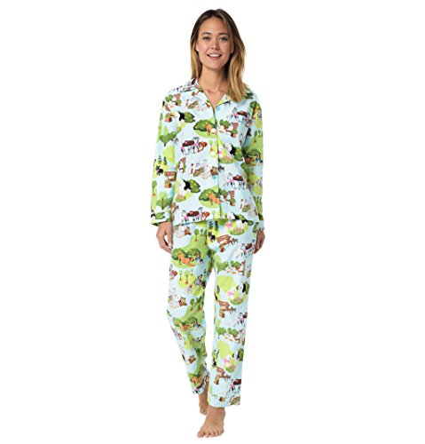 The Cat's Pajamas Blue Dogs Day Out Women's Flannel Pajama Small (Blue Cat Pajamas)