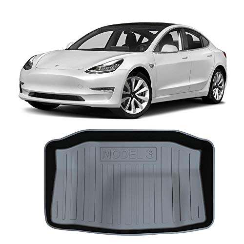 Hamkaw Tesla Model 3 Accessories Front/Rear Trunk Floor Mat Suitable for All Tesla Model 3 (Black)