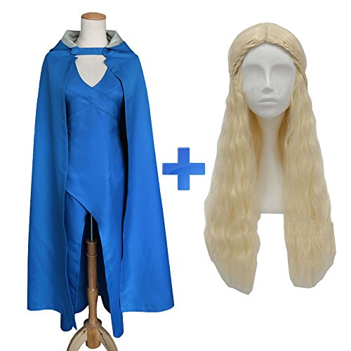 CCHLO Daenerys Targaryen Costume Wig Halloween Women Dress and Cloak Game of Thrones Dragon Mother Cosplay (XXL, Dress + Cloak+ Wig)