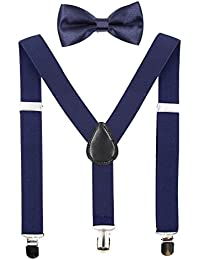Kids Suspenders Bowtie Sets Adjustable Suspender Set for Boys and Girls