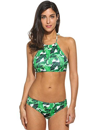 2b1cb1a7d1 Ekouaer Womens Forest Leaves Printing High Neck Halter Bikini Set Swimsuit