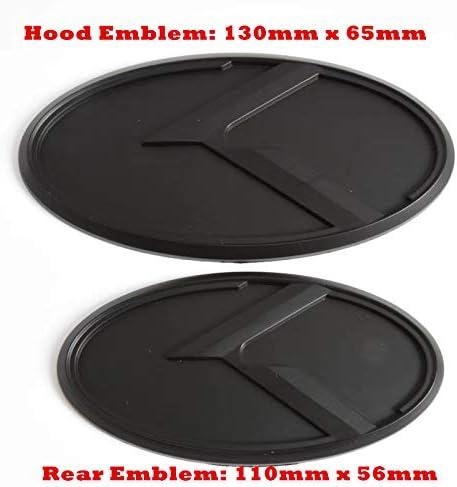Color Name: K Black 2pcs 2Pcs//lot Black 3D ABS Flight K Logo Emblem Badges Set for KIA K5 2011-2013 Optima Forte Stickers