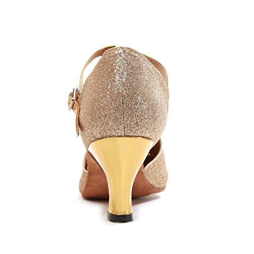 Minishion Gl262 Dames T-strap Glitter Praktijk Dansschoenen Avond Pompen Goud-6cm Hak