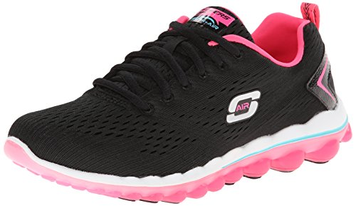 Skechers Sport Women's Skech Air Aim High Fashion Sneaker,Black Mesh/Hot Pink Trim,8 M US