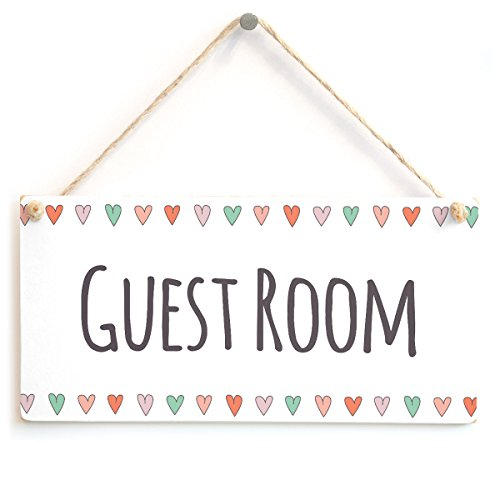 Guest Room - Cute Handmade Guest Door Sign Coloured Hearts Border