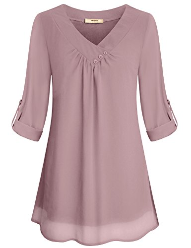 Miusey 3/4 Sleeve Blouses for Women, Lady Chiffon V Neck Pleated Front Plain Cool Thin Casual Office Flattering Summer Loose Fit Two Layer Basic Blouse Shirt Top Pink XL