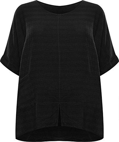 (WearAll Women's Plus Linen Hanky Hem Baggy Oversized Top - Black - US 16-18 (UK 20-22))