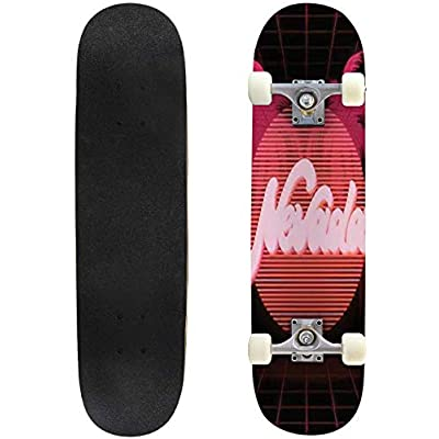 Classic Concave Skateboard Nevada Vector Poster with Handwritten Lettering Made in Vaporwave Longboard Maple Deck Extreme Sports and Outdoors Double Kick Trick for Beginners and Professionals : Sports & Outdoors