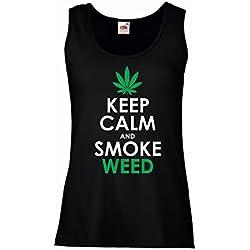 lepni.me Womens Tank Tops Keep Calm and Smoke - Marijuana Leaf Weed Smoker (X-Large Black White)