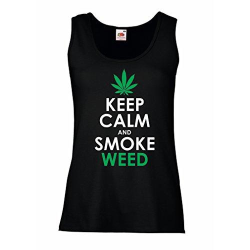 lepni.me Womens Tank Tops Keep Calm and Smoke - Marijuana Leaf Weed Smoker (XX-Large Black White) (Halloween Drinks That Smoke)