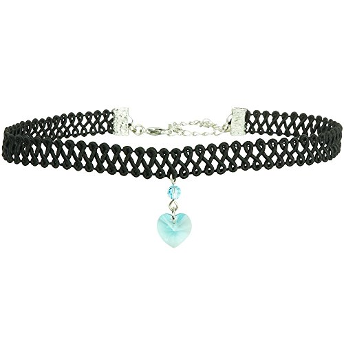 Twilight's Fancy Swarovski Crystal Heart Pendant Choker (Aquamarine Light Blue, Large) Aquamarine Satin Swarovski Crystals