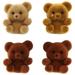 Miniature Assorted Brown Flocked Teddy Bears