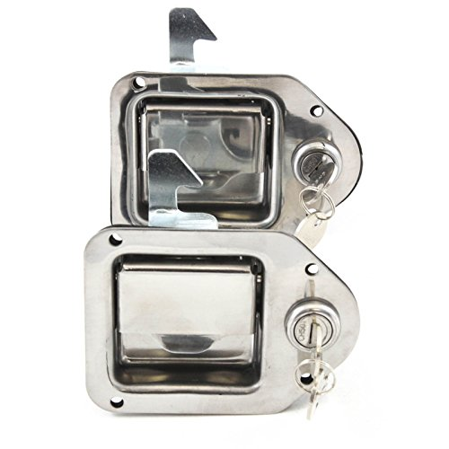 Red Hound Auto 2 Stainless Door Lock Trailer Toolbox RV Handle Latch 4-3/8 Inches x 3-1/4 Inches Paddle Key