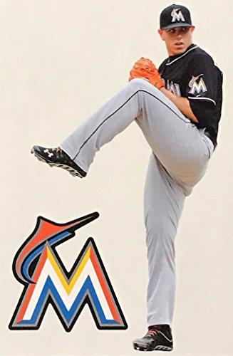 Jose Fernandez Mini FATHEAD + Miami Marlins Logo Official MLB Vinyl Wall Graphics 7'' INCH by FATHEAD