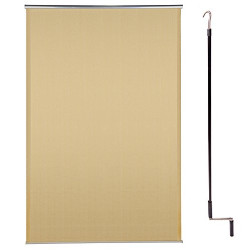 Cool Area 6ft x 4ft Outdoor Cordless Roller Sun Shade for Proch Patio in color Sand by Cool Area
