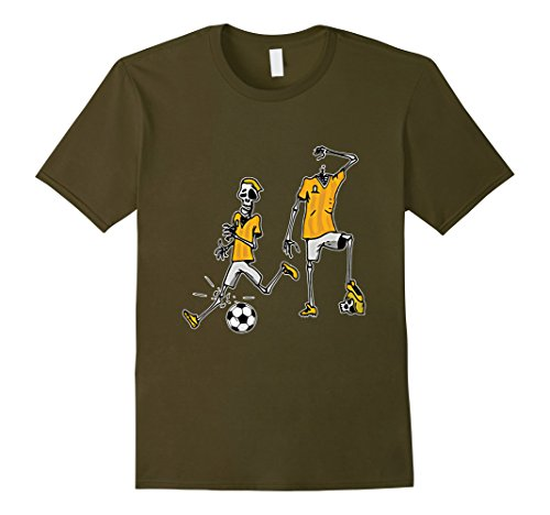 Mens Halloween Zombie Soccer Player T-shirt Medium Olive