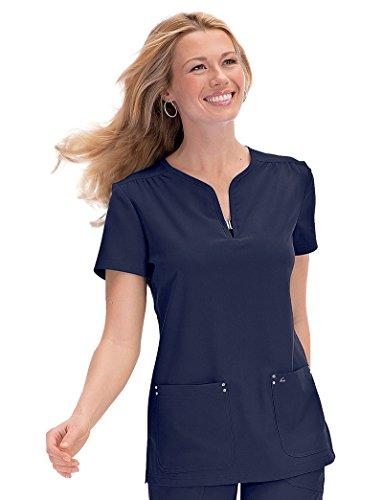 - koi Sapphire Women's Mara Y-Neck Solid Scrub Top X-Large Navy