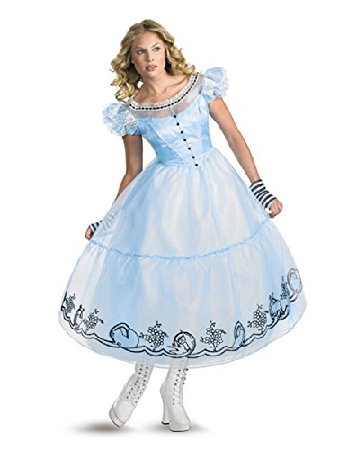 Disguise Women's Alice in Wonderland Deluxe Costume, Blue, Medium -