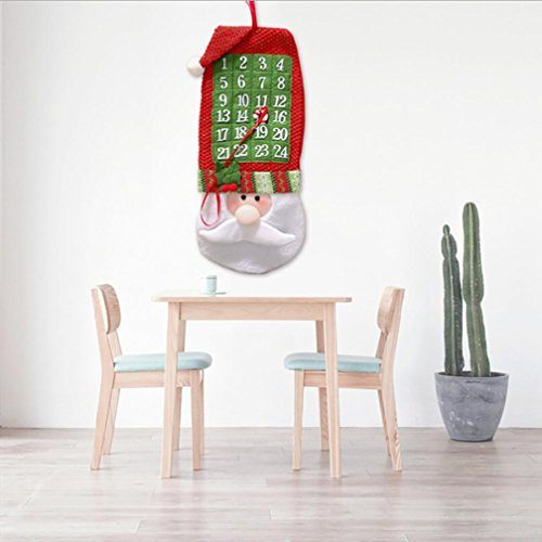 Iuhan Christmas Countdown Calendar Xmas Ornaments Santa Claus Banner Decoration (Christmas Calendar Banner Countdown)