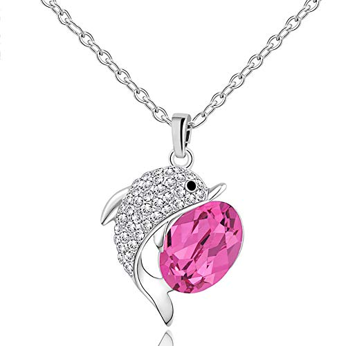 (ATDMEI Dolphin Pendant Necklace Sterling Silver Plated for Women Girls Red Zircon Jewelry Gifts)