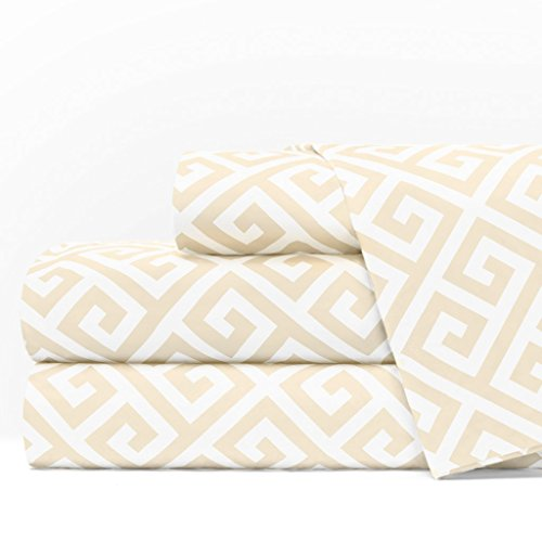 Egyptian Luxury 1600 Series Hotel Collection Greek Key Pattern Bed Sheet Set - Deep Pockets, Wrinkle and Fade Resistant, Hypoallergenic Sheet and Pillowcase Set - King - ()