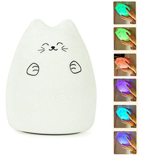Mystery-Portable-Silicone-Soft-Cartoon-LED-Multicolor-Night-Lamp-USB-Rechargeable-Children-Night-Light-with-Warm-White-7-Color-Breathing-Dual-Light-Modes-Sensitive-Tap-Control-for-Baby-Adults-Bedroom