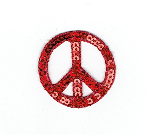 RED Sequin Peace Sign - 1-1/2