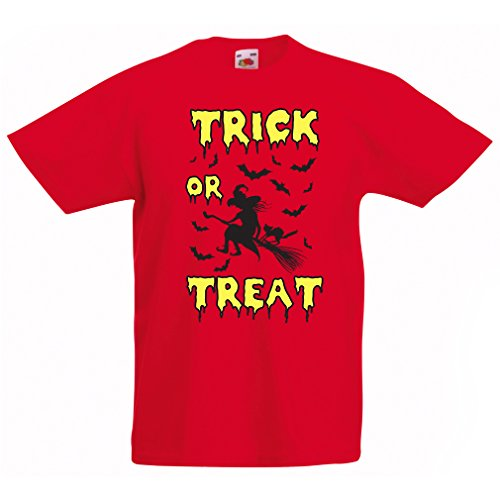 lepni.me T Shirts for Kids Trick or Treat - Halloween Witch - Party outfites - Scary Costume (12-13 Years Red Multi Color)]()