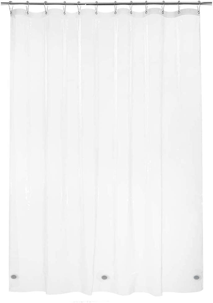 Titanker Shower Curtain Liner, Waterproof Lightweight 3G PEVA Shower Liner, 12 Metal Grommet Holes Shower Curtain with 3 Magnets for Bathroom, Hotel, Bathtub, 72 x 84 Inches - Clear