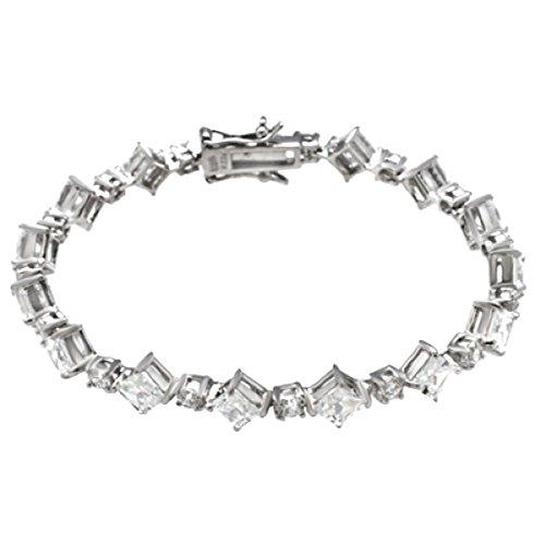 Tennis Bracelet Princess and Brilliant cut Solid 925 Sterling Silver 7mm (Brilliant Cut Princess Bracelet)